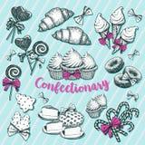Bäckerei und Gebäck, Süßigkeiten für Winterurlaub vektor abbildung
