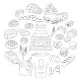 Bäckerei- und Gebäcksammlungsgekritzel-Vektorillustration Stockfotos