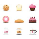 Bäckerei- und Getränkikonen Lizenzfreie Stockbilder