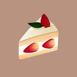 Bäckerei-und Nachtisch-Erdbeerkuchen-Schnitt Lizenzfreies Stockfoto