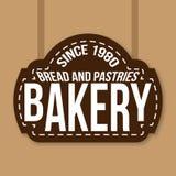 Bäckerei-Weinlese-Zeichen-seit 1980 Vektor Lizenzfreies Stockfoto