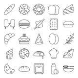 Bäckereibäckerikonen-Satzsammlung mit Entwurfskunstart lizenzfreies stockfoto