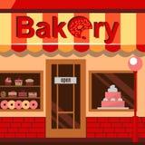 Bäckereigebäude mit Kuchen, Schaumgummiringen und Torten Lizenzfreie Stockbilder