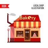 Bäckereigebäude mit Kuchen, Schaumgummiringen und Torten Stockfotos