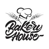 Bäckereihauslogo, wenn Art mit dem Hut und den Getreide des Chefs beschriftet wird Auch im corel abgehobenen Betrag stock abbildung
