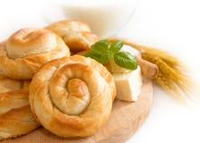 Bäckereihintergrund - Käsetorte Lizenzfreie Stockbilder