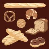 Bäckereiikonen stellten, Illustration von verschiedenen Broten ein Stockbild