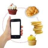 Bäckereilieferungskonzept (zu bestellen Anruf) stockfotos