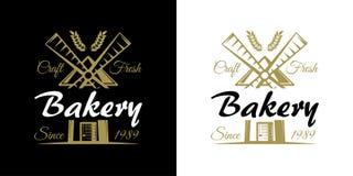 Bäckereisatz der Vektorweinlese versinnbildlicht, Aufkleber, Ausweise und Logos mit goldenem Weizen und Windmühle Stockbild