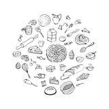 Bäckereisatz, Hand gezeichnete Vektorillustration Stockfotos