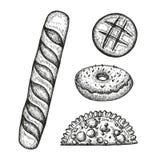 Bäckereisatz Skizzen Weinlesevektorillustration Vektor Abbildung
