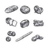 Bäckereishopsammlung Verschiedene Typen des Brotes Windmühle stock abbildung