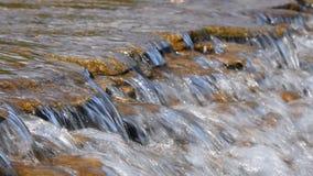 Bäckvattenström med små klyftor stock video