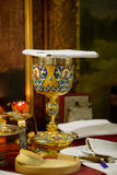 Bägare för nattvardsgång i den ortodoxa kloster kiev Royaltyfria Bilder