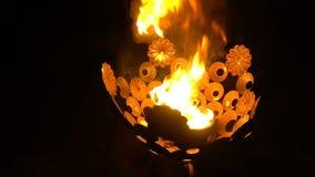 Bägare med bränningbrand arkivfilmer