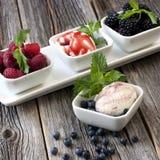 Bälle der Eiscreme geschmückt mit Beeren auf weißer Platte Lizenzfreie Stockfotos