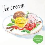 Bälle der Eiscreme mit Erdbeeren lizenzfreie abbildung