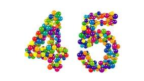 Bälle, die Nr. 45 über weißem Hintergrund bilden Lizenzfreies Stockbild