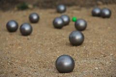 Bälle für petanque Das Spiel von Petanque Lizenzfreie Stockfotos