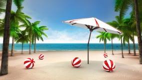 Bälle und Sonnenschutz auf dem sandigen tropischen Strand Stockfotos