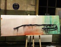 Bälte som drar för tabellteckning för olje- målning arbete arkivfoton