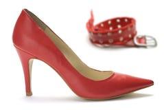 bältet shoes kvinnan Arkivfoton