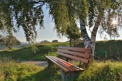 bänk för utomhus- rekreation Arkivfoto