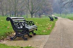 Bänk i en parkera Arkivfoto