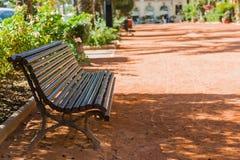 Bänk i en stadspark Royaltyfri Foto