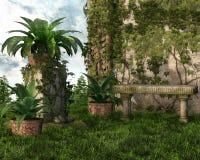 Bänk i en trädgård royaltyfri illustrationer