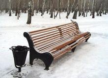 Bänk i vinter Fotografering för Bildbyråer