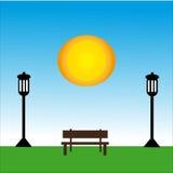Bänk med lampan på dagen med solen Stock Illustrationer