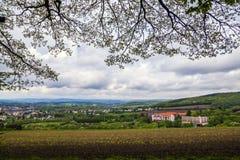 Bänk med sikt till Sankt Wendel Royaltyfri Foto