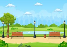 Bänk med trädet och lykta i parkera vektor illustrationer