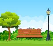 Bänk med trädet och lykta i parkera royaltyfri illustrationer