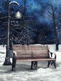 Bänk och lykta i vinter royaltyfri illustrationer