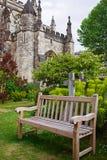 Bänk på Bristol Cathedral i Bristol i södra västra UK Arkivbilder