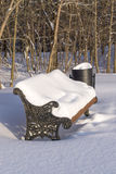 bänk räknad snowing vinter för parkplatssnow Royaltyfria Foton