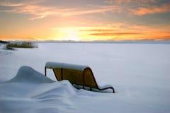 Bänk under snow Royaltyfri Foto
