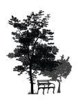 Bänk under träden Arkivfoton