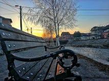 Bänk vid floden i Serbien Royaltyfri Fotografi