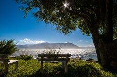 Bänk vid havet Fotografering för Bildbyråer