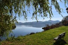 Bänk vid sjön av Kastoria Grekland Royaltyfri Fotografi