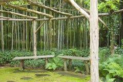 bänkar arbeta i trädgården japansk meditation Arkivbild