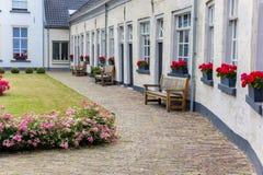 Bänkar framme av vita hus i Doesburg Royaltyfri Foto
