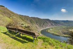Bänkar ovanför den Moselle dalsikten, Tyskland Royaltyfri Foto