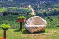Bänkar som göras av stenen Fotografering för Bildbyråer