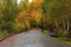 Bänke auf dem Ziegelsteinbürgersteig und -laternen in einem schönen Herbstpark stockbild