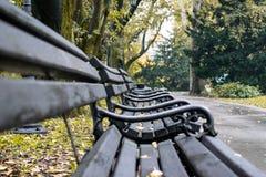 Bänke in den Prinzen Street Gardens, Edinburgh Lizenzfreies Stockfoto