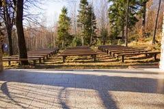 Bänke im Wald Lizenzfreies Stockbild